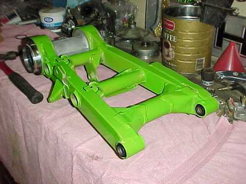 rear swing arm with kawasaki green paint